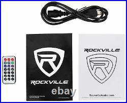 (2) Rockville BPA15 15 1600w Active PA/DJ Speakers+Mixer+Mic+Stands+Cables+Bag
