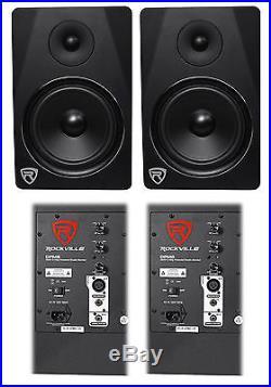 (2) Rockville DPM8B Dual Powered 8 600 Watt Active Studio Monitor Speakers