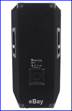(2)Rockville RSG12 12 3Way 1000 Watt 8Ohm Passive DJ PA Speaker +Stands +Cables