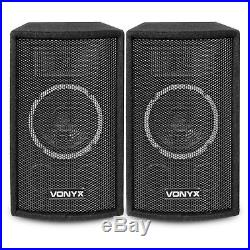 2x Vonyx SL6 6 DJ Speakers + Amplifier + Cables Home Stereo Sound System 250W