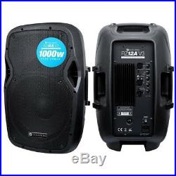 Evolution RZ12A Active 2000W 12 DJ Disco PA Speaker Package (Pair) with Stands