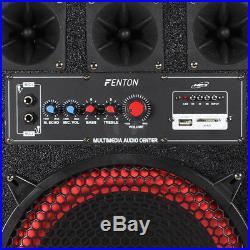 Fenton 12 Active Powered PA Speakers Disco Karaoke Party DJ System 800W