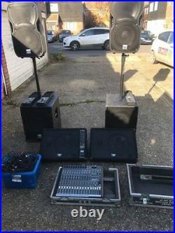 Full Band/disco P a System, Mackie pro fx, Alto trusonic top/bass cabs, 3 mics