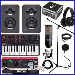 Home Recording Scarlett 2i2 3G MIDI USB Studio Bundle Package w Software, Akai