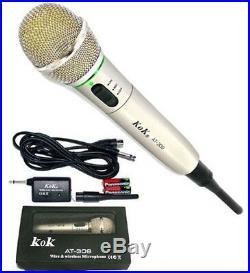 Microfono Wireless E Con Cavo Filo 2 In 1 Per Registrare Karaoke Cantare 309 Sc0