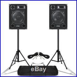 Pair MAX SP12 12 Mobile DJ PA Full Range Speakers with Stands 1400 Watt UK Stock