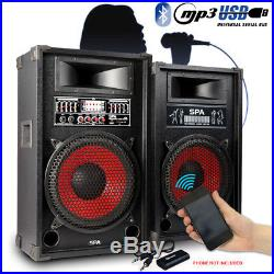 Pair Skytec Active PA Karaoke Party 12 Inch Speakers MP3 USB Bluetooth 1200W