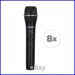 Pyle PDWM8325 8-Ch. Wireless Microphone System UHF Receiver Kit 8 Handheld Mics