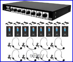Pyle Rack Mount 8 Channel Wireless 8 Headsets & 8 Lavalier Microphone System
