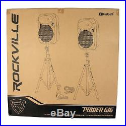 Rockville RPG152K Dual 15 Powered Speakers, Bluetooth+Mic+Speaker Stands+Cables