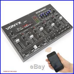 STM2290 Sound Effects Bluetooth Wireless Audio DJ PA Mixer 8-Channel SD USB MP3