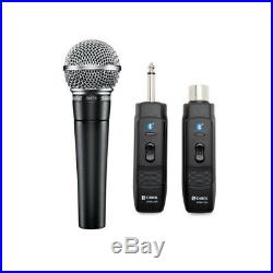 Shure SM58-LC Vocal Microphone with Knox Mic Bluetooth Module Adapter and Receiver